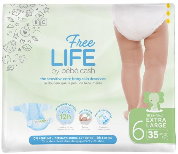 Babywindeln BébéCash-Freelife - X-Large 6 - (18kg+).