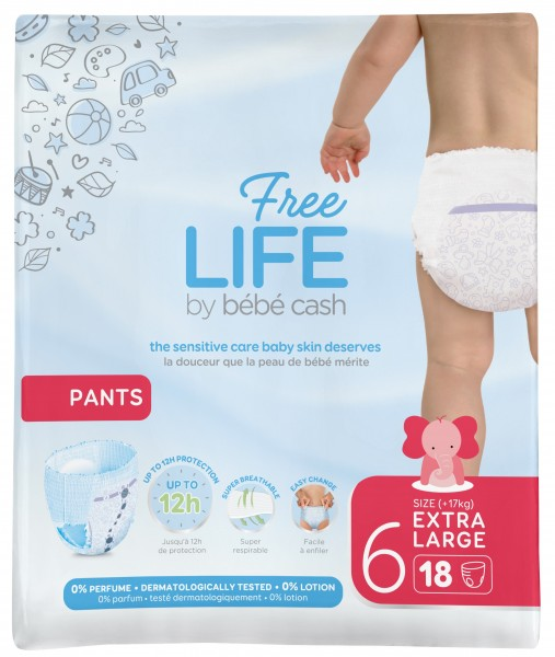 BébéCash Freelife Pants XL 6 - (17+ kg) Babywindeln.