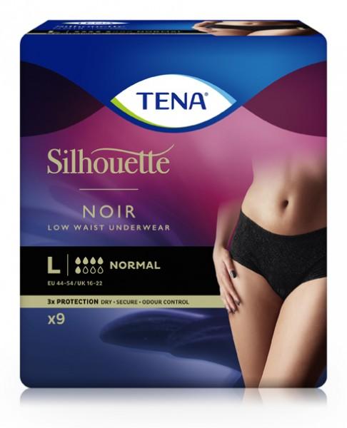 Tena Silhouette Normal Noir Large. Inkontinenzhosen für Frauen mit Blasenschwäche.