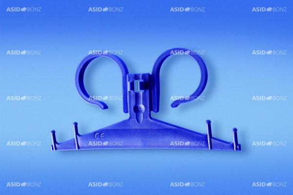 Asid Bonz Urinbeutelhalter aus Kunststoff, unsteril, blau. Sekretbeutelhalter, Doppelfederbügel - PZN 02948677.