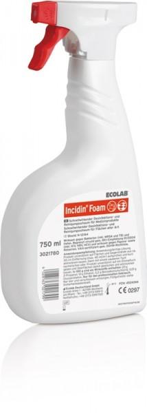 ECOLAB Incidin Foam Desinfektions- und Reinigungsschaum - 750 ml - Flasche mit Schaumsprühkopf