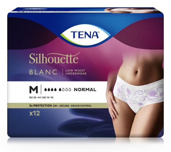 Tena Silhouette Normal Blanc Medium. Inkontinenzhosen für Frauen mit Blasenschwäche.