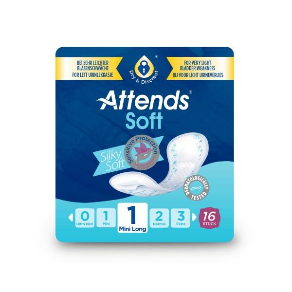 Attends Soft 1 Mini long, Inkontinenz Hygiene-Einlagen, bei leichter Blasenschwäche.