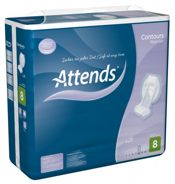 Attends Contours Regular 8 - Attends Vorlagen oder Einlagen für alle Schweregrade der Inkontinenz.