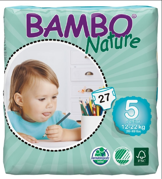 Abena Babywindeln Bambo Junior 5 - (12-22 Kg). Saugstarke Babywindeln