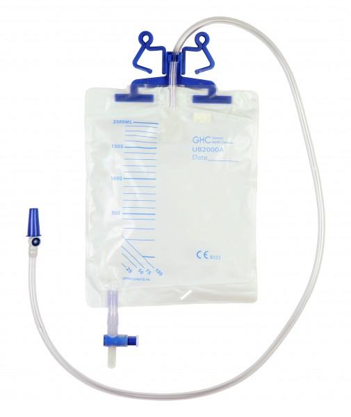 GHC Care Flow UB 2000A Bettbeutel. Steriler Bettbeutel mit 2000 ml Füllvolumen und 110 cm Schlauchlänge - PZN 08871289.