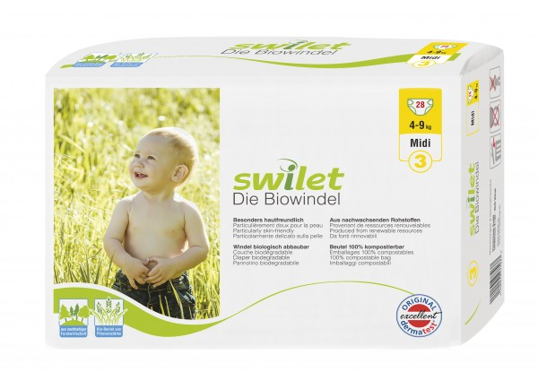 Rogges Wilogis Bio Babywindeln Swilet Gr. 3 - Midi (4-9 Kg). Swilet Babywindeln - die Biowindel von Wilogis.
