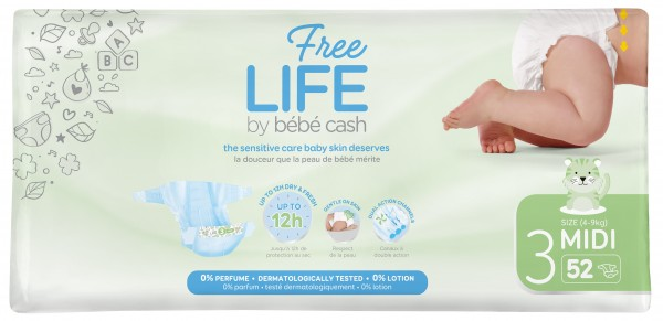 Babywindeln BébéCash-Freelife - Midi 3 - (4-9kg).