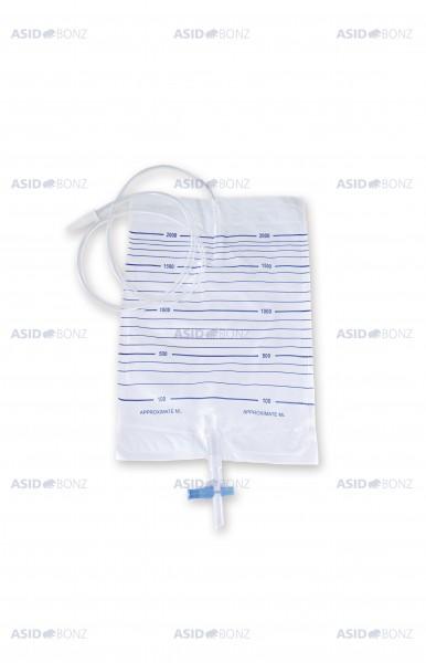 Asid Bonz Urosid Urinbeutelsystem 2l, 90cm, mit Rückflusssperre (NRV), Universalstuffenkonnektor, steril - PZN 01804924.