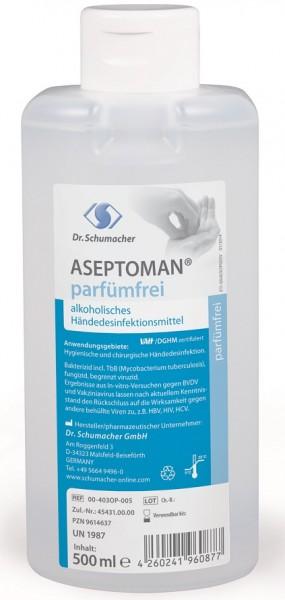 Dr. Schumacher ASEPTOMAN® Händedesinfektion parfümfrei - 500 ml.